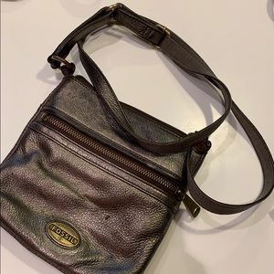 Fossil Gun Metal Shoulder Purse